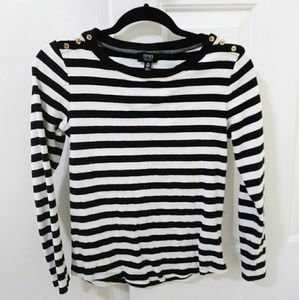 Black and White Stripped Long Sleeve Shirt